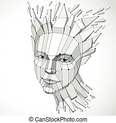 Face of a thinking woman created in low poly style and with...