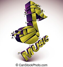 3d vector green shattered musical notes with music word. Art...
