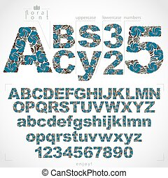 Ecology style flowery font and numbers, vector typeset made using natural ornament. Numeration from 0 to 9 and alphabet letters created with spring leaves and floral design.