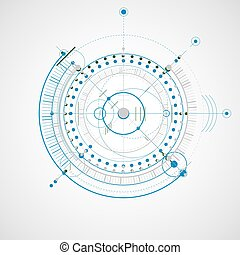 Technical drawing made using dashed lines and geometric circles. Colorful vector wallpaper created in communications technology style, engine design.