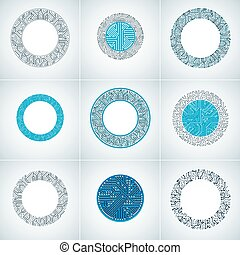 Set of vector abstract technology elements with round colorful circuit boards. High tech circular digital schemes of electronic device.