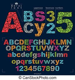 Set of vector ornate letters and numbers, flower-patterned typescript. Colorful characters created using herbal texture.