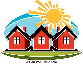 Bright vector illustration of simple country houses on sunrise background. Summertime conceptual fairy image, graphic design.