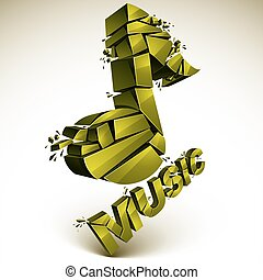 3d vector green demolished musical notes, music word....
