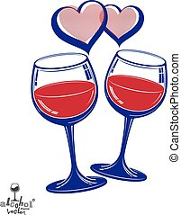 Valentine's day theme vector illustration. Two wineglasses...