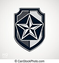 Vector shield with a pentagonal Soviet star, protection...
