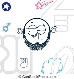 Vector hand drawn cartoon doubtful boy. Education theme...