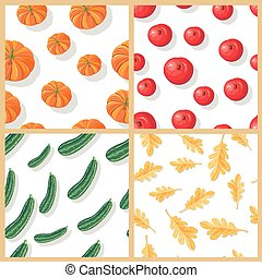 Set of Autumn Harvest Vector Seamless Patterns - Set of...