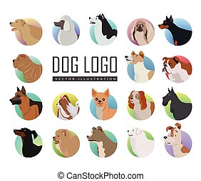 Set of Dog Vector Logos in Flat Style Design - Set of dog...