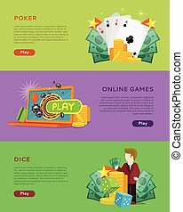 Set of Gambling Vector Banners In Flat Design - Set of...
