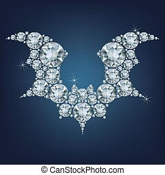 Halloween flying bat silhouettes made a lot of diamonds