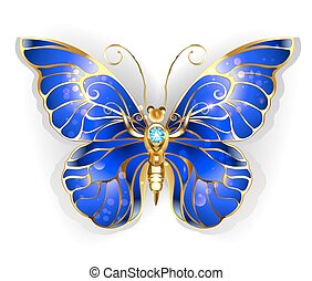 Sapphire Butterfly - Luxury, Jewelry, gold butterfly with...