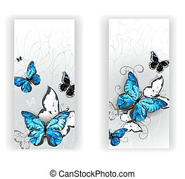 Two banners with butterflies morpho