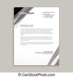 black paint stroke letterhead