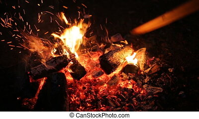 Night bonfire in the camp