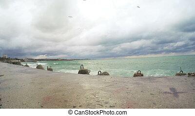 Concrete tetrapods breakwater and jetty - RUSSIA,...
