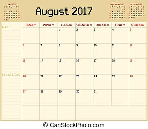 Year 2017 August Planner - A monthly planner calendar for...