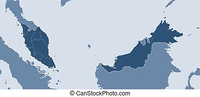 Map - Malaysia - Map of Malaysia and nearby countries,...