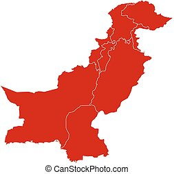Map - Pakistan - Map of Pakistan in black with the...