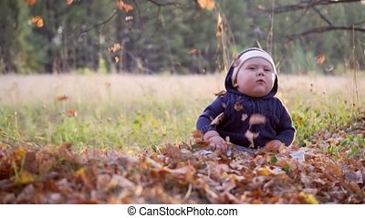 Baby in the forest. Falling autumn leaves. 1 years old.