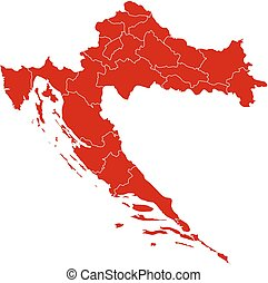 Map - Croatia - Map of Croatia in black with the provinces.
