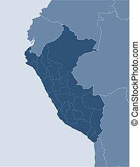 Map - Peru - Map of Peru and nearby countries, Peru is...