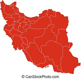 Map - Iran - Map of Iran in black with the provinces.