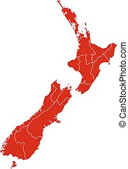 Map - New Zealand - Map of New Zealand in black with the...
