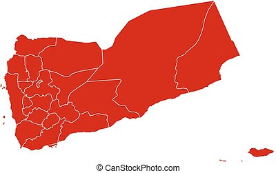 Map - Yemen - Map of Yemen in black with the provinces.