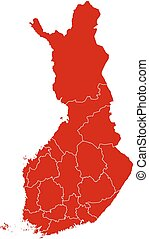 Map - Finland - Map of Finland in black with the provinces.