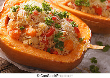 Baked pumpkin stuffed with couscous, meat and vegetables...