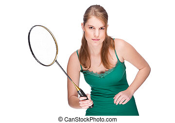 Woman with badminton racket - Full isolated studio picture...