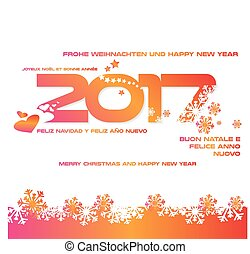 Sfondo 2017 colorato - Sfondo 2017 con auguri in diverse...
