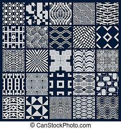 Set of vector endless geometric patterns composed with...