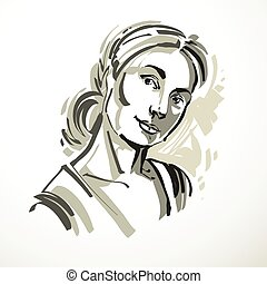 Vector drawing of beautiful tender woman, portrait in minimal style. Grayscale illustration, emotional expressions of nice lady.