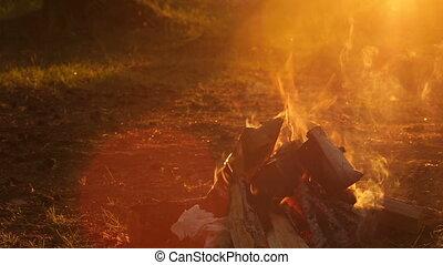 Campfire at sunset closeup