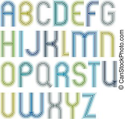 Large jolly colorful striped uppercase letters with rounded...