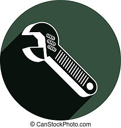 Adjustable wrench isolated on white, repair tool 3d vector icon. Manufacture theme design element, detailed illustration of work instrument.