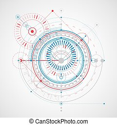 Geometric technology vector drawing, technical wallpaper. Abstract scheme of engine or engineering mechanism.