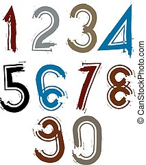 Multicolored handwritten numbers, vector doodle brushed...