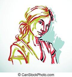 Vector portrait of attractive dreamy woman, facial...