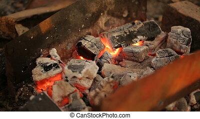 hot coals close-up - live coals. hot coals close-up