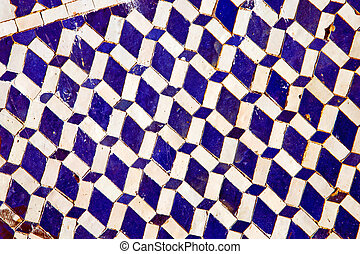 abstract morocco africa tile blue background texture -...
