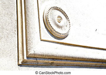 castronno italy varese abstract wall of a curch circle...