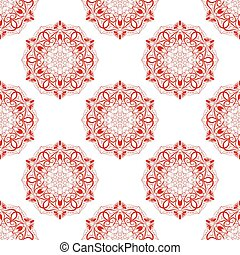 Vector Red Seamless Mandala Pattern over white background....