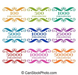 Vector Set of followers badges with numbers over white