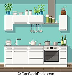 Illustration of interior equipment of a modern kitchen