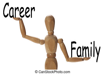 Importance of family versus the career - Mannequin measuring...