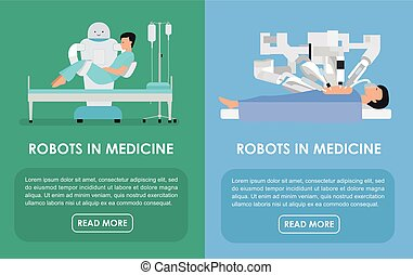 Robots in medicine. Flat Vector illustration. Medicine...