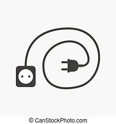 Wire plug and socket icon. Vector illustration. Plug, socket...